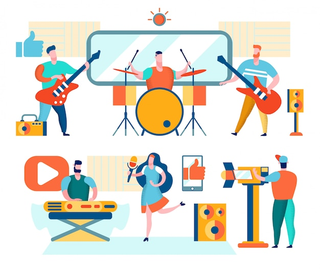 Musiciens et chanteurs jouent de la musique Vecteur Premium
