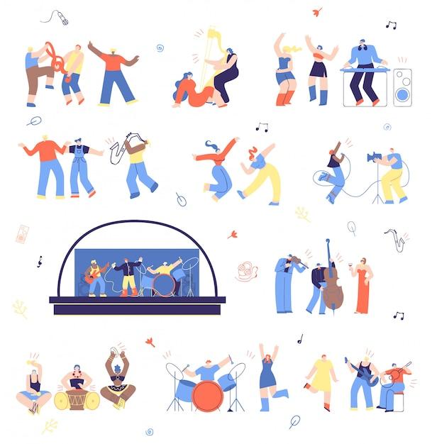 Musiciens et fans de musique vector illustration set Vecteur Premium