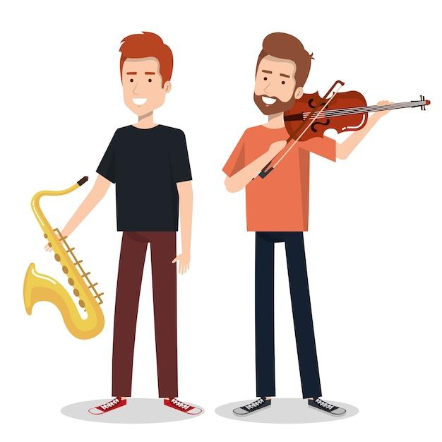 Musiciens et instruments de musique concert entertainment Vecteur Premium