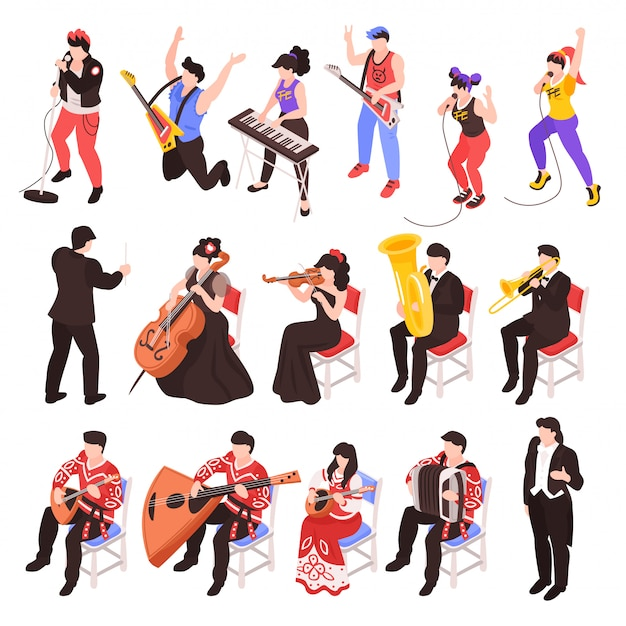 Musiciens Jouant Des Instruments De Musique Des Personnages Isométriques Sertie D'un Groupe De Rock Trompette Violoncelliste Ensemble De Jazz Classique Vecteur gratuit