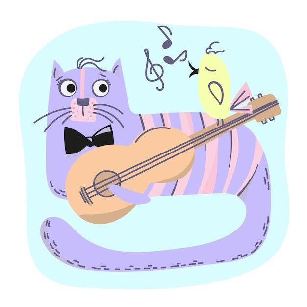 Musique cat bande dessinée animal cartoon vector illustration set Vecteur Premium