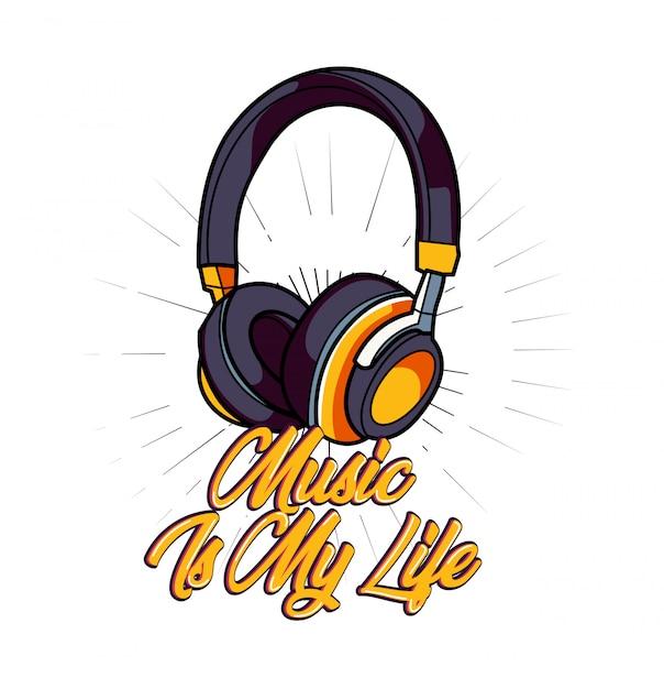 La musique est ma vie vecteur pour la conception de t-shirt Vecteur Premium