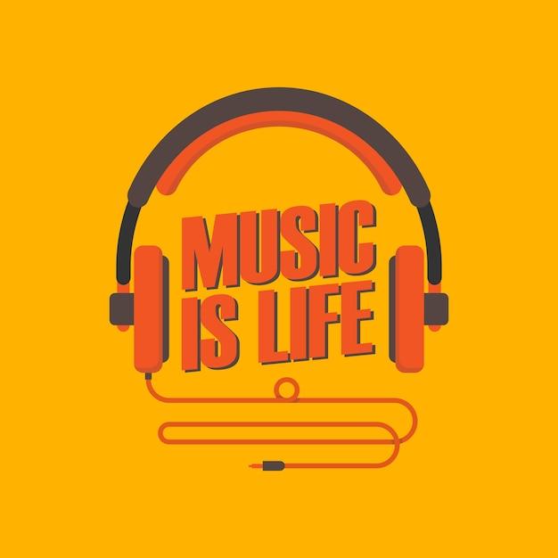 La musique est la vie avec l'illustration du casque Vecteur Premium