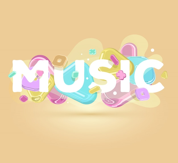 Musique D'inscription Positive Moderne Avec Des éléments De Cristal Lumineux Sur Fond Clair Avec Une Ombre. Vecteur Premium