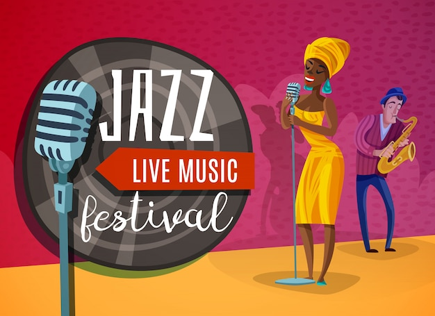 Musique Jazz Horizontal Vecteur gratuit