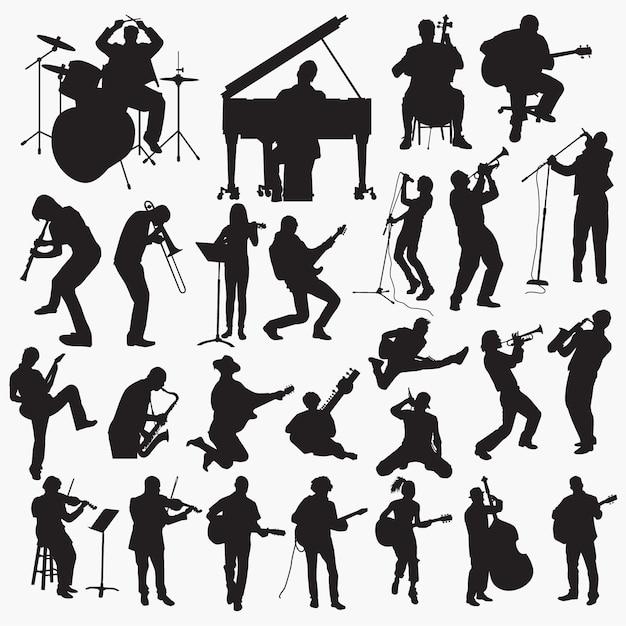 Musique jouant des silhouettes Vecteur Premium