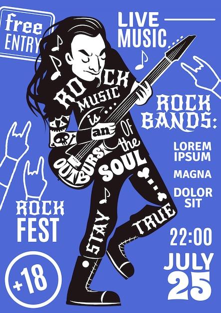 Musique lettrage silhouette affiche rock Vecteur gratuit