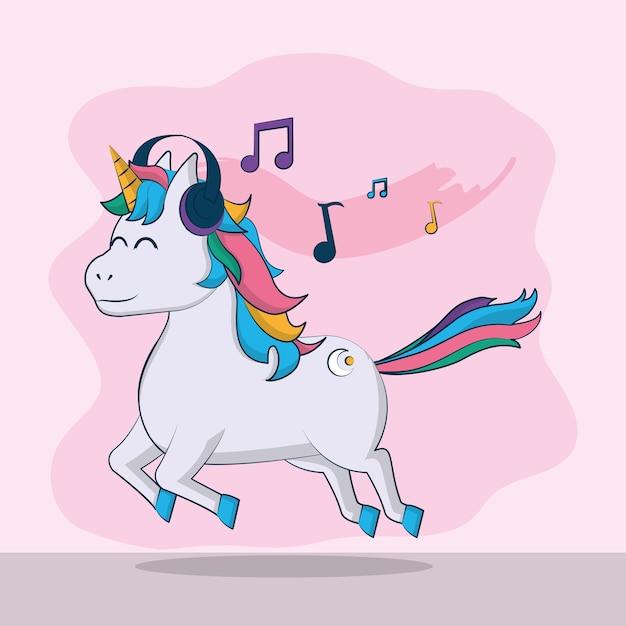 Musique licorne mignon écouter de la musique avec des écouteurs vector illustration graphisme Vecteur Premium