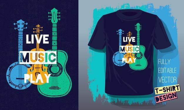 Musique Live Jouer Lettrage Slogan Rétro Style Croquis Guitare Acoustique Vecteur Premium