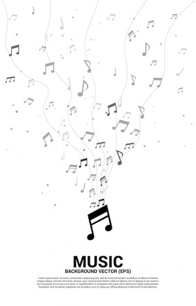 Musique Mélodie Note Danse Flux Modèle Vertical Vecteur Premium