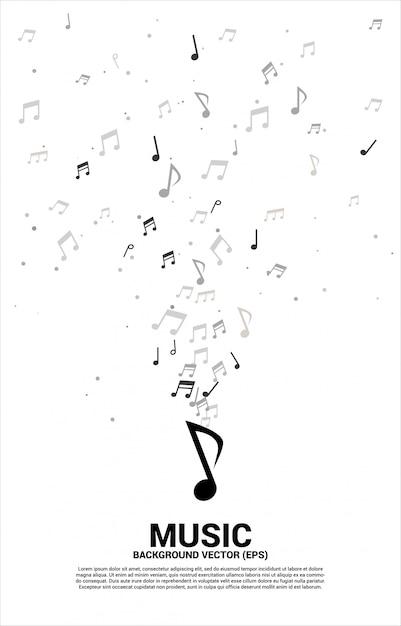 Musique Mélodie Note Flux De Danse. Vecteur Premium