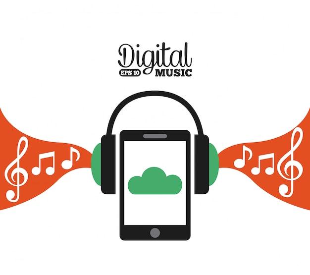 Musique numérique Vecteur Premium
