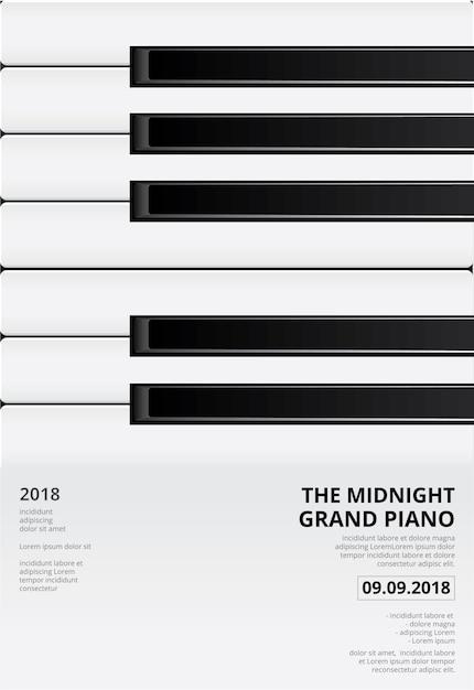 Musique piano à queue affiche fond modèle illustration vectorielle Vecteur Premium