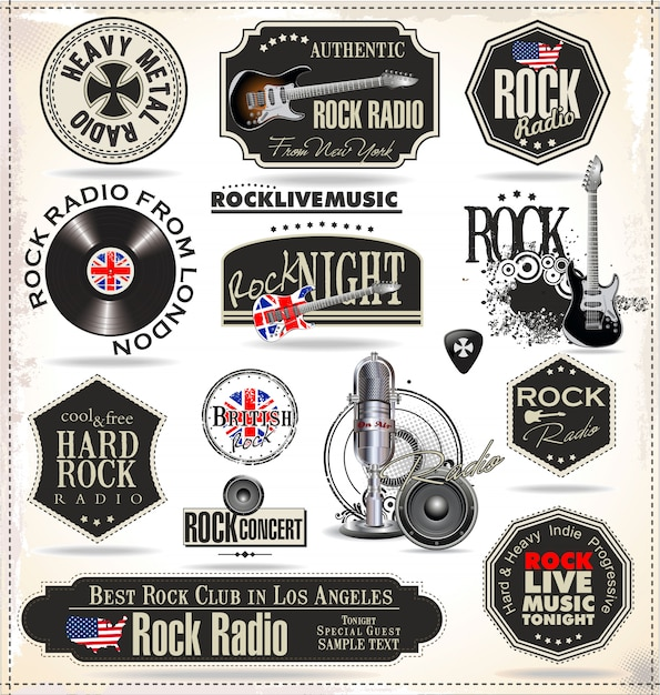 Musique rock Vecteur Premium