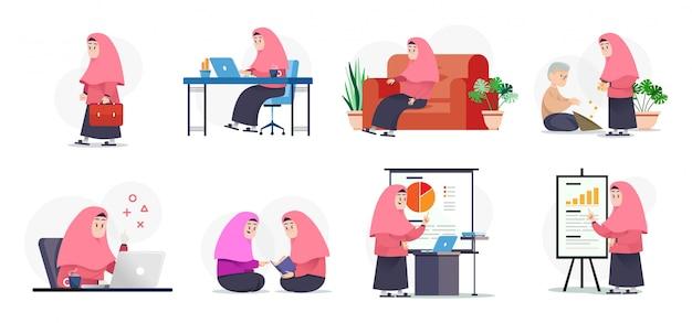 Muslimah faisant des activités Vecteur Premium