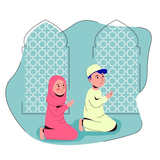 Musulman, garçon, fille, prier, ensemble, dans, mosquée, après, shalat, illustration Vecteur Premium