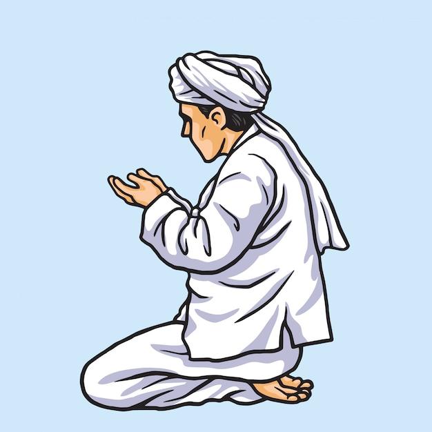 Musulman priant à ramadan kareem Vecteur Premium