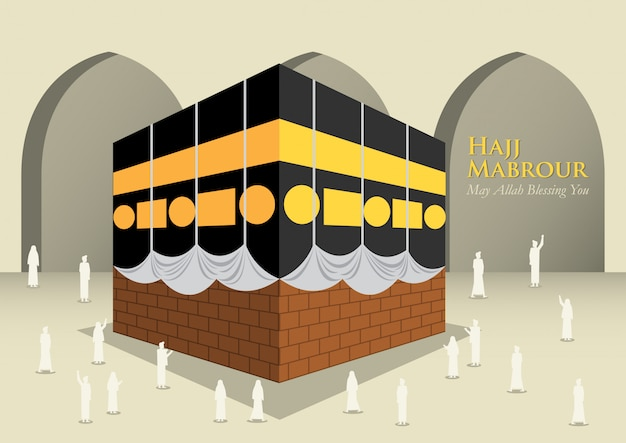 Les Musulmans Autour De La Kaaba Vecteur Premium