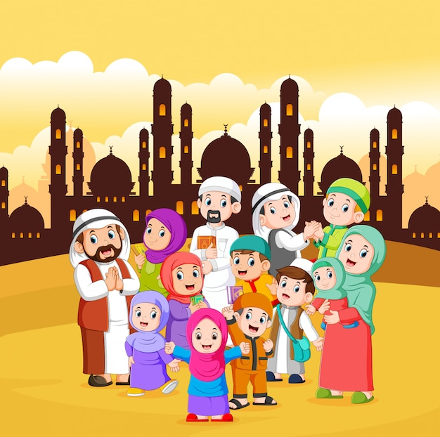 Les musulmans se rassemblent dans la ville au ciel jaune Vecteur Premium