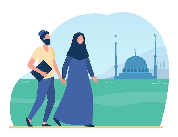 Les Musulmans Vont à La Mosquée. Islam, Hijab, Culte Illustration Plate. Illustration De Bande Dessinée Vecteur gratuit