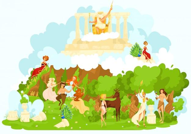Mythologie Grecque Figurines De Dessin Anime De Dieux Antiques De Dieux Olympiques Mythologiques Symbolisant L Illustration De Faveur Et De Protection Vecteur Premium