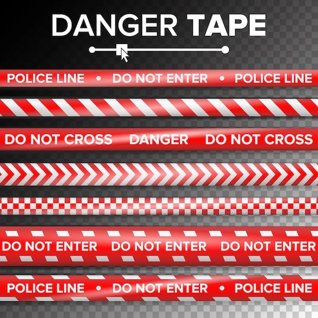 N'entrez pas, danger. rubans rouges et blancs en quarantaine de sécurité. isolé sur fond transparent Vecteur Premium