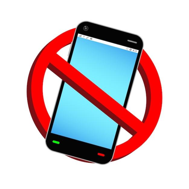 N'utilisez Pas Le Vecteur De Signe D'interdiction De Smartphone Vecteur Premium