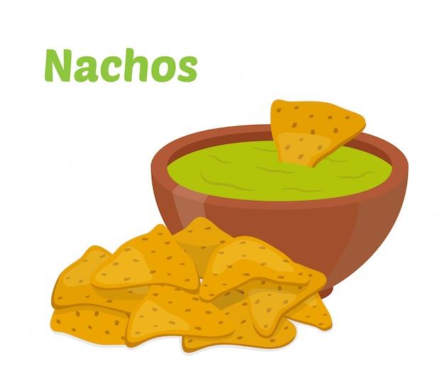 Nachos chips mexicaines Vecteur Premium