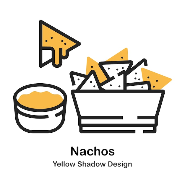 Nachos Lineal Couleur Illustration Vecteur Premium