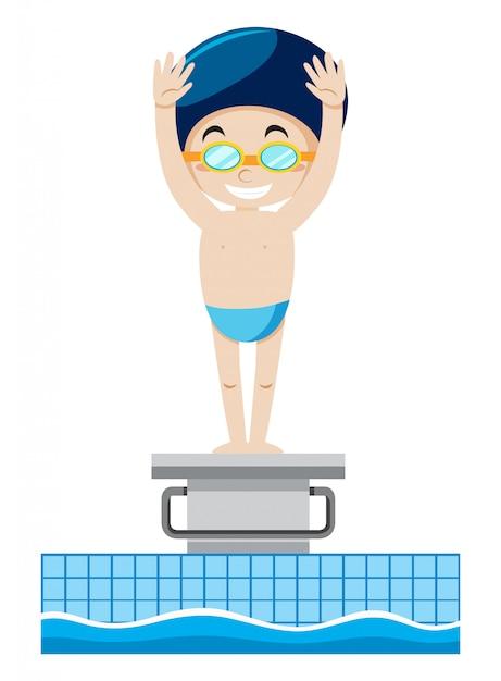 Un nageur sur le tremplin Vecteur gratuit