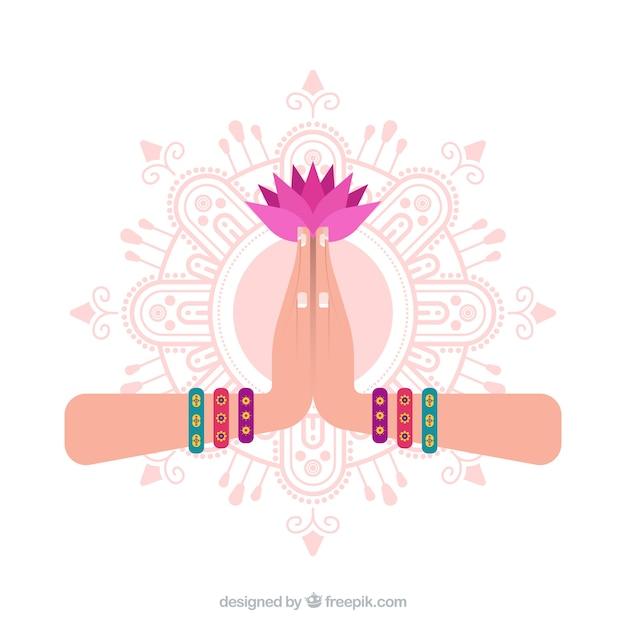 Namaste geste avec mandal et fleur Vecteur gratuit