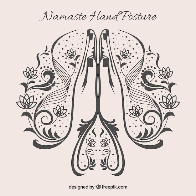 Namaste geste avec styel d'origine Vecteur gratuit