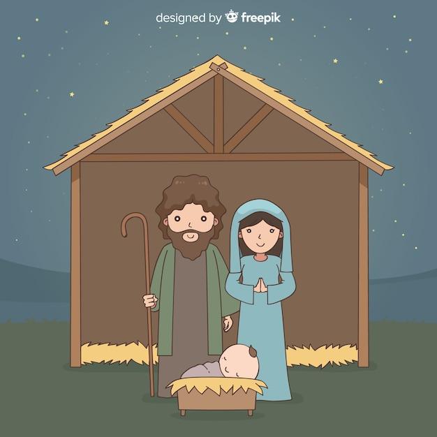 Nativité nuit main arrière-plan dessiné Vecteur gratuit