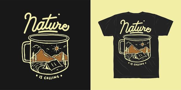 La Nature Appelle La Conception De T-shirt Aventure Vecteur Premium