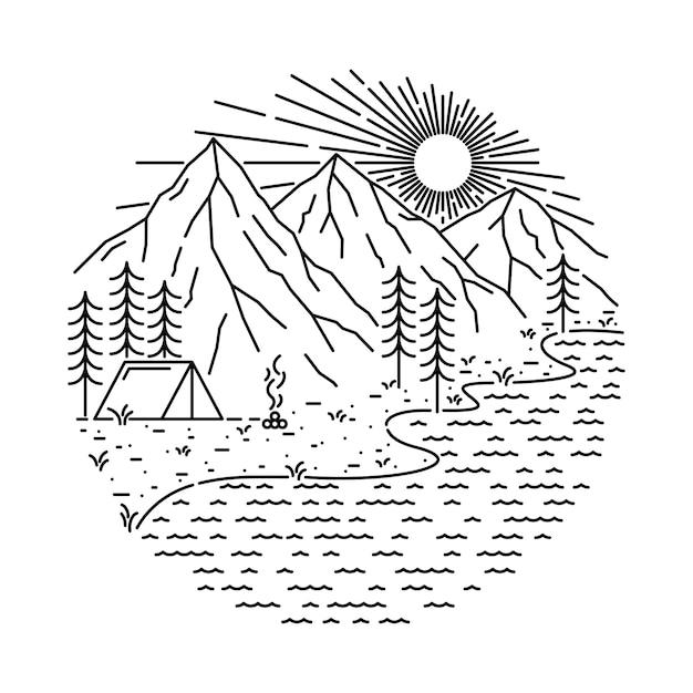 Nature Camping Lake Mountain Line Illustration Vecteur Premium