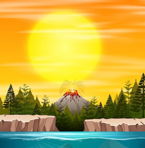 Une nature coucher de soleil Vecteur gratuit