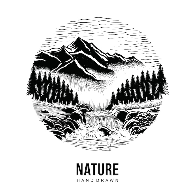 Nature Dessiné à La Main Vecteur Premium