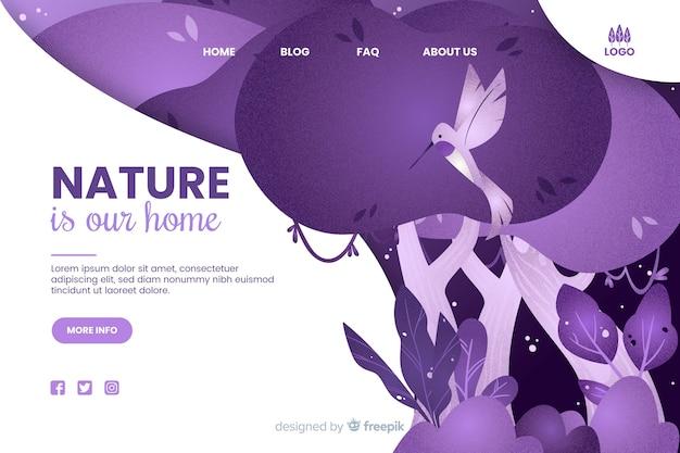La nature est notre modèle web d'accueil Vecteur gratuit