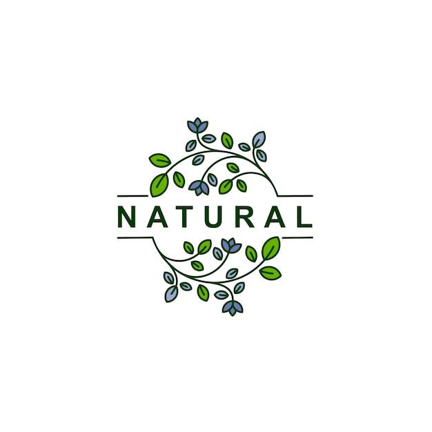 Nature feuille ligne art logo icône symbole illustration vectorielle Vecteur Premium