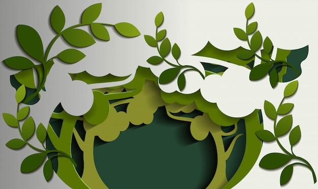 Nature de fond d'arbre en papier coupé style Vecteur Premium