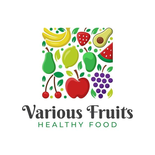 Nature Fruits Frais, Aliments Sains Et Création De Logo De Fruits Divers Vecteur Premium