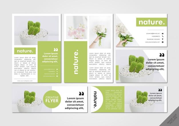 Nature green layout pack Vecteur Premium