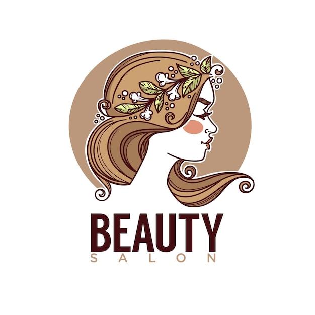Nature De L'image De Croquis De Beauté Du Visage De Fille Pour Votre Emblème D'étiquette De Logo Vecteur Premium