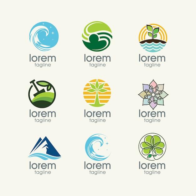 Nature modèles logo collection Vecteur gratuit