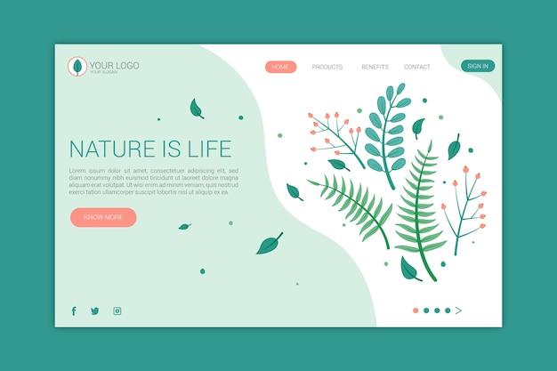 Nature De La Page De Destination En Main Dessinée Vecteur gratuit