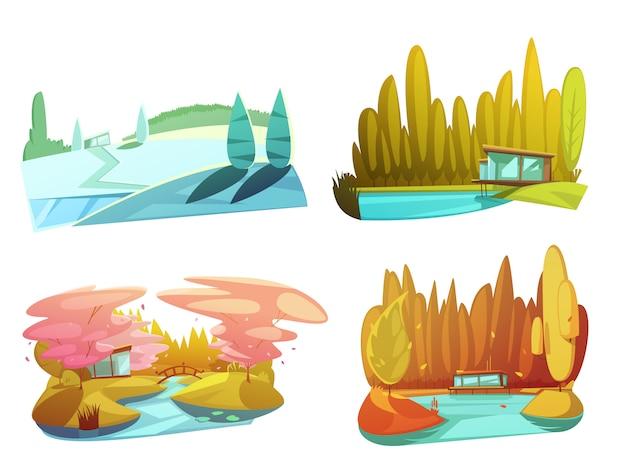 Nature paysages 4 dessins de saison composition carrée avec hiver été automne Vecteur gratuit