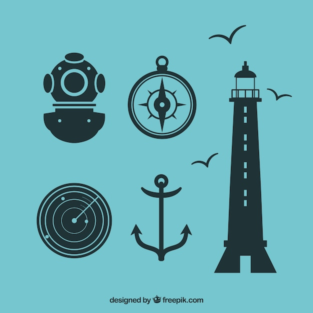 Nautic Icon Set Vecteur gratuit