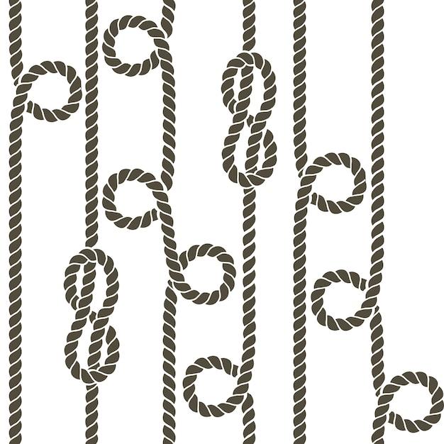 Nautique corde et noeud vectorielle continue Vecteur Premium