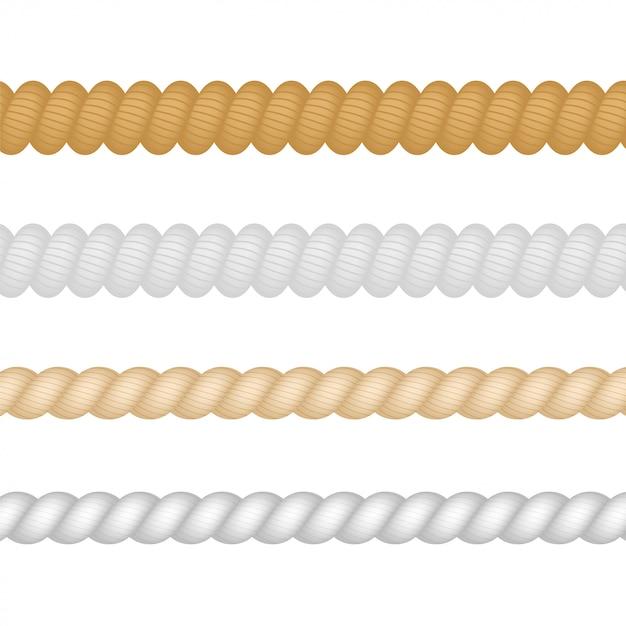 Nautique, Marine, Naval, Ensemble De Corde D'épaisseur De Ficelle Isolé. Illustration. Vecteur Premium
