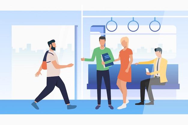 Navettage des voyageurs voyageant en train Vecteur gratuit